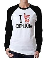 Idakoos - I love chihuahua - Dogs - Women Raglan Long Sleeve T-Shirt