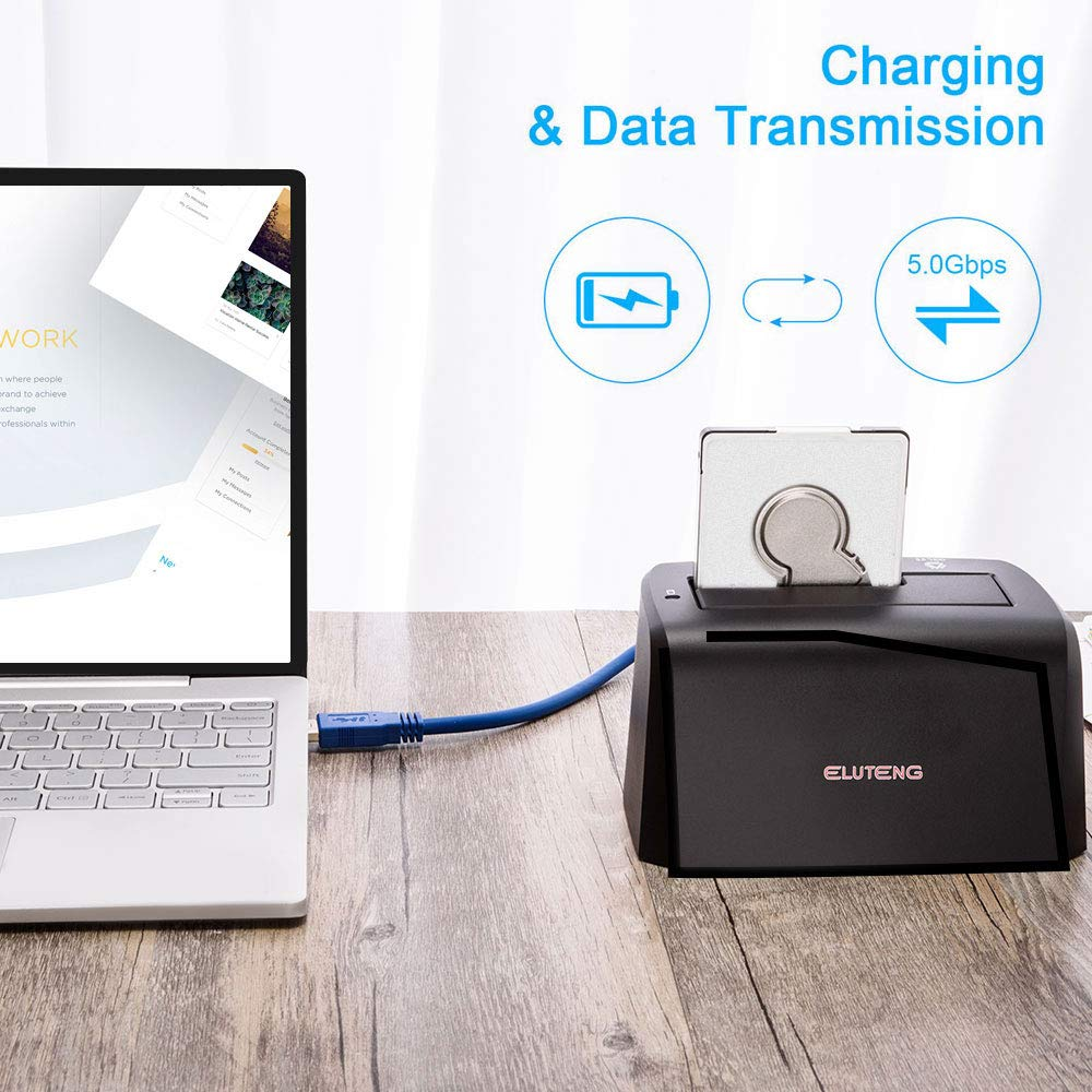 ELUTENG USB3.0 Hard Drive Docking Station for SATA3 2.5 and 3.5 inch SSD or HDD 5Gbps UASP Super Speed Max Support 8TB Hard Disk Drive Dock Plug and Play by ELUTENG (Image #4)