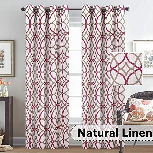 (H.VERSAILTEX Elegant Natural Linen Blended Energy Efficient Light Filtering Curtains for Bedroom Nickel Grommet Top Drapes 52 by 84 Inch,Set of 2 Panels-Taupe and Red Geo Pattern )