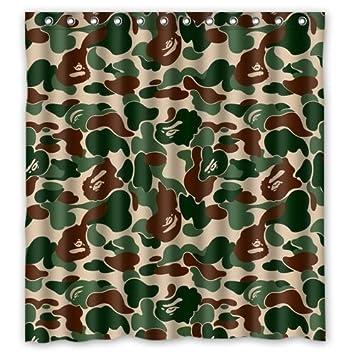 b44d37bd888d Image Unavailable. Image not available for. Color  DEFFWB Zaza Custom Bape  Bathing Ape Camo Bathroom Shower Curtain 60 quot  x 72 quot