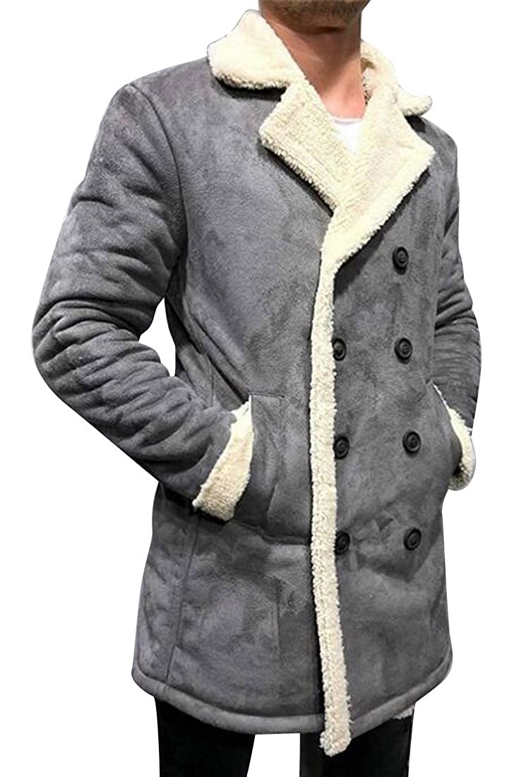 Suncolor8 Mens Lapel Faux Lambwool Lined Plus Size Thermal Double Breasted Down Coat Jacket Outerwear