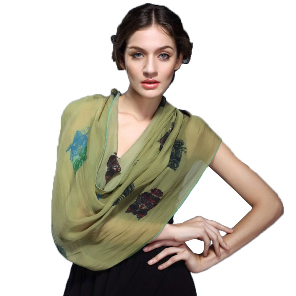 Exclusive Mulberry Silk Extended Long Scarf Women's Fashion High Quality Shawl Spring Autumn Summer Chiffon Scarf