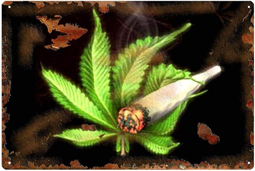 "Yooce Marijuana Leaf Metal Tin Sign Cannabis Weed Iron Painting Reefer Grass Wall Art Poster 12"" X 8"""