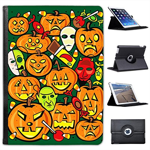 Different Faces of Halloween Pumpkins For Apple iPad Air 2 [2014 Version] Faux Leather Folio Presenter Case Cover Bag with Stand (Different Halloween Pumpkin Faces)