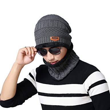 45713008bbb Mens Fashion Beanie Winter Faux Fur Lined Baggy Hat Neckerchief Scarf Cap  (Grey)  Amazon.co.uk  Clothing