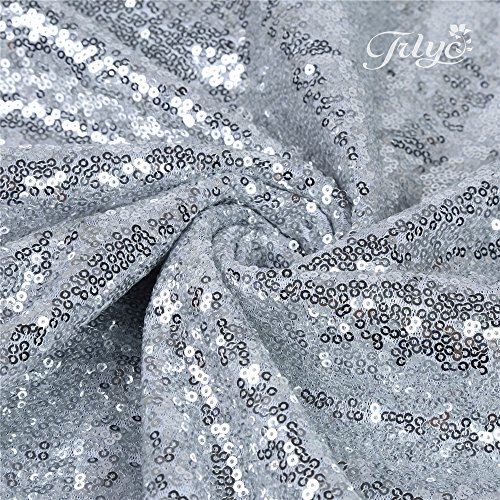 """61Uurq8s7gL - 156"""" Round Sparkly silver Sequin Table Cloth Sequin Table Cloth,Cake Sequin Tablecloths, Sequin Linens for Wedding"""