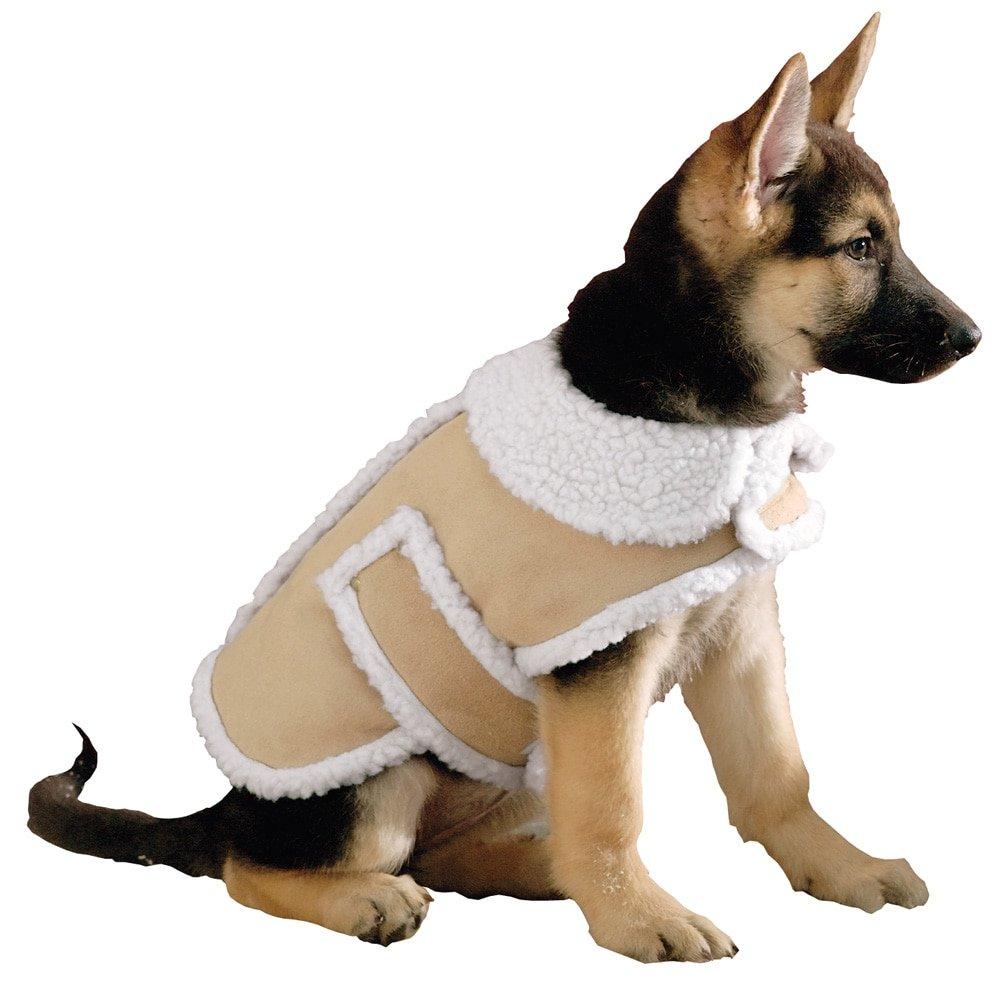 Shearling Fleece Dog Winter Coat, Tan, X-Large