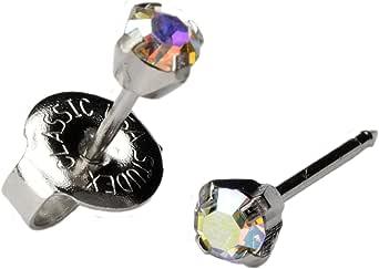 Silver Ear Piercing Earrings 3mm Rainbow Crystal Stud Stainless Studex System 75 Hypoallergenic