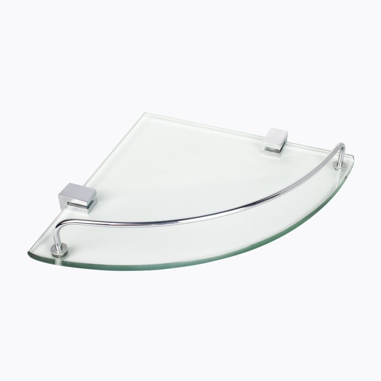 Bathroom Corner Tempered Glass Shelf, Vdomus Stainless Steel Shower Shelf with Rail[Updated]