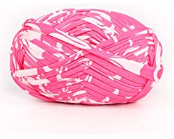 1 PCS Colorful T-Shirt Yarn Knitting Yarn Fabric Crochet Cloth for DIY Knitted Fabric Art (#59 Pink&White)
