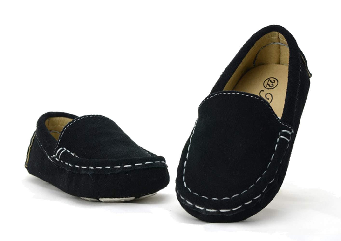 WUIWUIYU Boys' Girls' Suede Slip-On Loafers Flats Moccasins Comfort Casual Shoes Black Size 7 M by WUIWUIYU (Image #3)