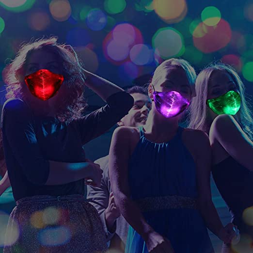 Light Up Face Mas LED Rave м/αsk 7 Colors Luminous Fun Rechargeable Radiation Face Mas for EDM EDC Men Women Christmas Party Festival Masquerade Costumes Glow in The Dark Black