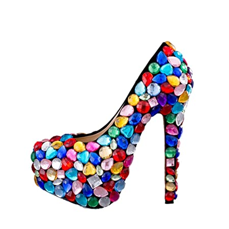 e005168c97 Europe and the United States - Colorful handmade diamond shoes wedding bridal  shoes - Women's wedding shoes (Color : With high 14cm, ...