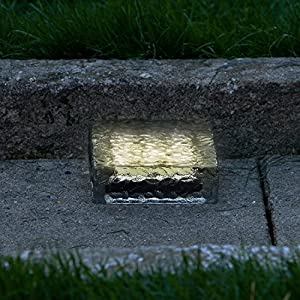 Warm White Solar LED Brick Landscape Light | 6x6 Size, Glass & Waterproof | Solar Panel & Rechargeable Battery Included