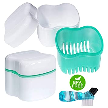 Amazon.com: Scotte Denture Case, Dentures Box,Denture Brush ...