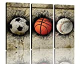 NAN Wind 3 Piece Modern basketball Soccer and Baseball Painting Artwork Balls Pictures Paintings on Stretched and Framed Canvas Wall Art for Living Room Bedroom Home Decorations