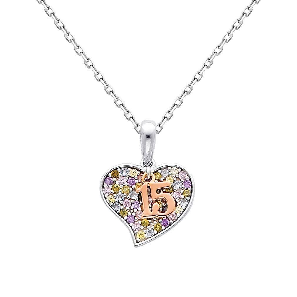 14k Two Tone Gold 15 A/ños CZ Pendant with 1.1mm Cable Chain Necklace