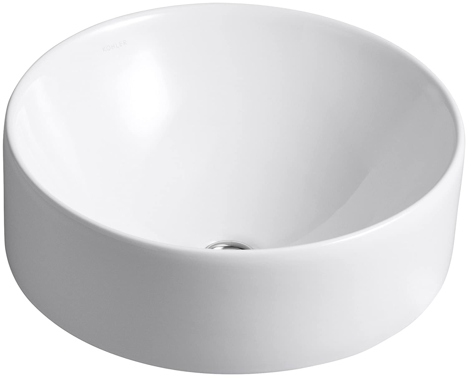 Kohler 14800-0 Vitreous china Above counter Round Bathroom Sink, 18.701 x 18.701 x 10.236 inches, White
