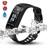 Hommie Bracelet Intelligent Etanche IPX8 Tracker d'Activité avec Cardiofréquencemètre Podomètre Calories Sommeil, Montre Connectée Bluetooth 4.0 Compatible avec iOS 8.0 ou Android 4.3-W04 Noir