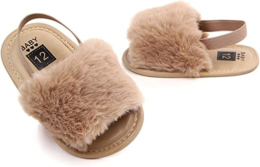 Newborn Baby Girl Summer Soft Sole Crib Shoes Cute Fluffy Fur Slippers Sandals