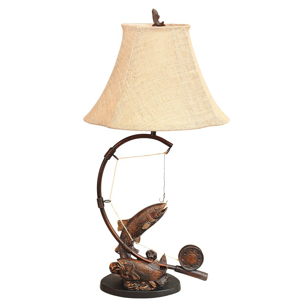 Fly rod trout rustic table lamp lodge lighting amazon mozeypictures Choice Image