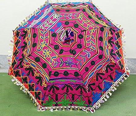 Indian decorativo hecho a mano Hippie Gypsy Decor algodón espejo trabajo bordado protección UV paraguas, sombrilla,