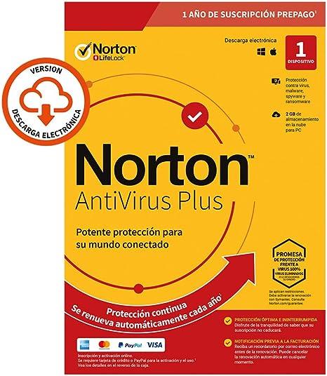 Norton Antivirus Plus 2020 - Antivirus software para 1 Dispositivo y 1 año de suscripción con renovación automática, para PC o Mac: Amazon.es: Software