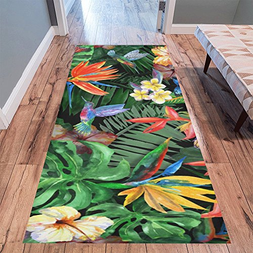 "Cheap InterestPrint Watercolor Hummingbird Bird Area Rug Floor Mat 10'x 3'3"", Tropical Butterfly Floral Flowers Plant Palm Banana Leaves Indoor Carpet Rugs Collection for Living Room Bedroom Home Decor"