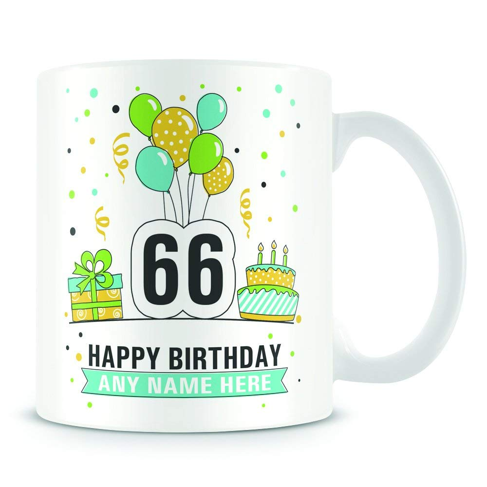 Personalised Age 66 Birthday Gift 66th Birthday Mug for Women and Men Birthday Party Design