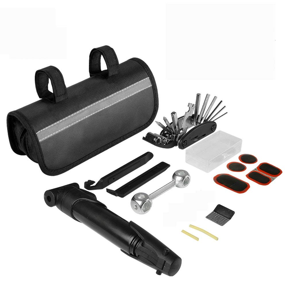AMOY TANG Bike Repair Kit with Pump and Bag-Mini Bike Pump, 16 in 1 Bicycle Multi Tool with Bike Bag Included Glueless Puncture Kit, Tire Lever, Fits Presta & Schrader Valves Wrench
