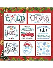 SANZHENG 8PCS Reusable Christmas Stencils, Christmas Painting Template for Wooden Sign, DIY Craft, Wall Decoration, Including Let It Snow/Santa Claus/Merry Christmas