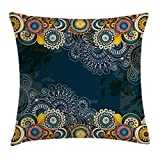 Psychedelic Throw Pillow Cushion Cover by Ambesonne, Floral Bizarre Vibrating Design Vintage Ornaments Leaves Paisley Mandala Art, Decorative Square Accent Pillow Case, 24 X 24 Inches, Blue Yellow