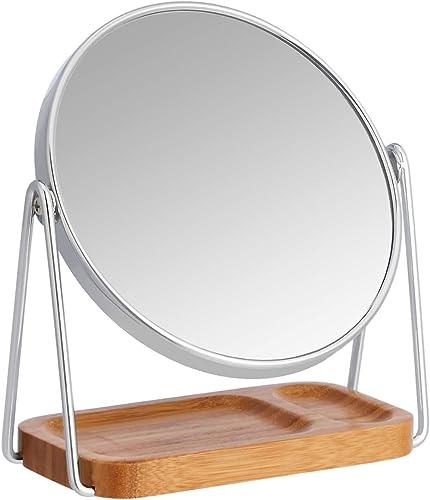 AmazonBasics Vanity Mirror with Squared Bamboo Tray – 1X 5X Magnification