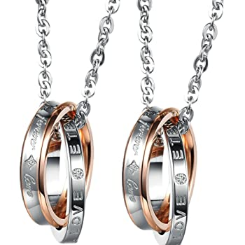 amazon com stainless steel couple necklace her and her engraved