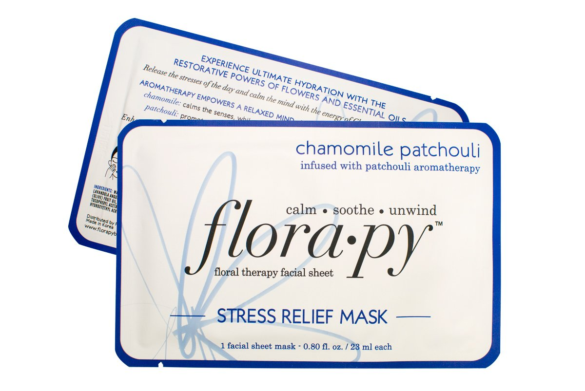 Aromatherapy Facial Sheet Mask - Hydrating - Essential Oils - Stress Relief Chamomile Patchouli (Single) by Florapy Beauty