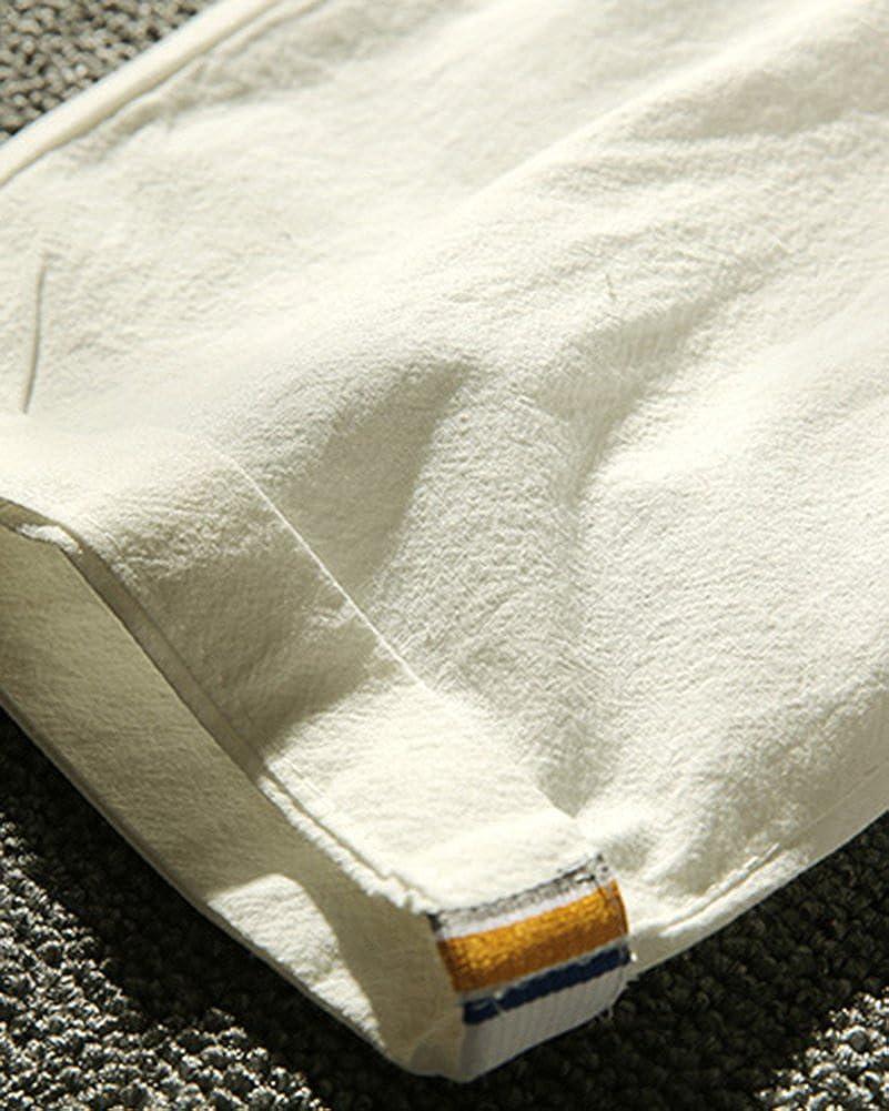 LaoZanA Homme Shorts Bermudas Pantacourt De Plage Pantalon en Lin Sarouel D/écontract/é L/éger Confortable Respirant