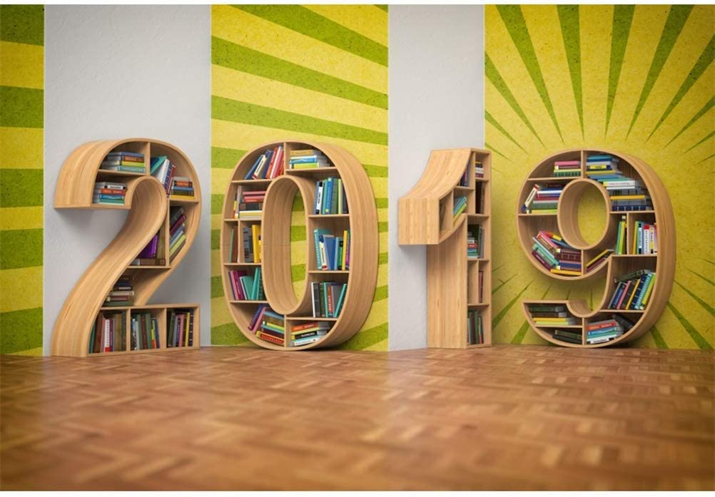 New Year 2019 Backdrop Polyester 10x6.5ft Unique Artistic 2019 Shape Bookshelves Stripes Wall Wooden Floor Background Child Kids Adult Shoot New Year Party Banner Studio Props