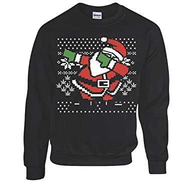 dabbing santa ugly christmas sweatshirt mens black sweatshirt