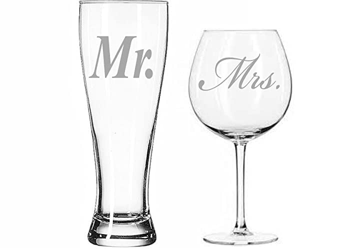 Mr And Mrs Beer Wine Glass Set