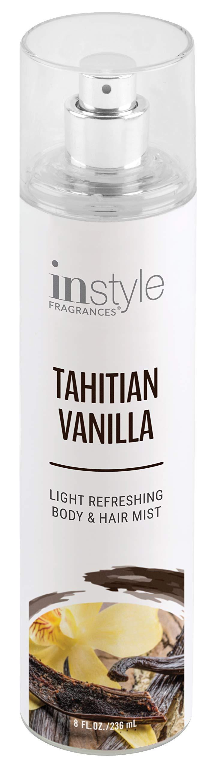 Instyle Fragrances | Body & Hair Mist | Tahitian Vanilla Scent | With Panthenol | CLEAN, Vegan, Paraben Free, Phthalate Free | Premium 8 Fl Oz Spray Bottle