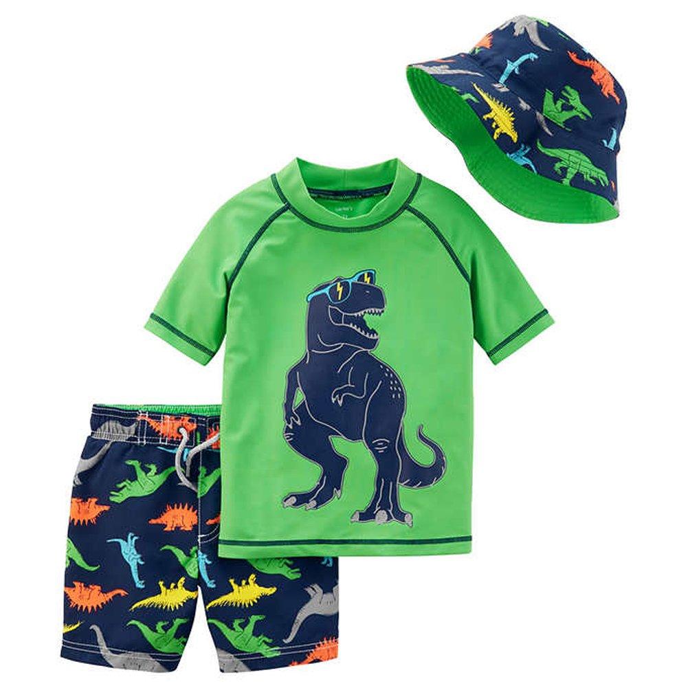 William Carter Co. Little Boys 3 Pc Swim Set - Swim Short, Rash Guard, Reversible Hat Reversible Hat (Dinosaur 4-5)