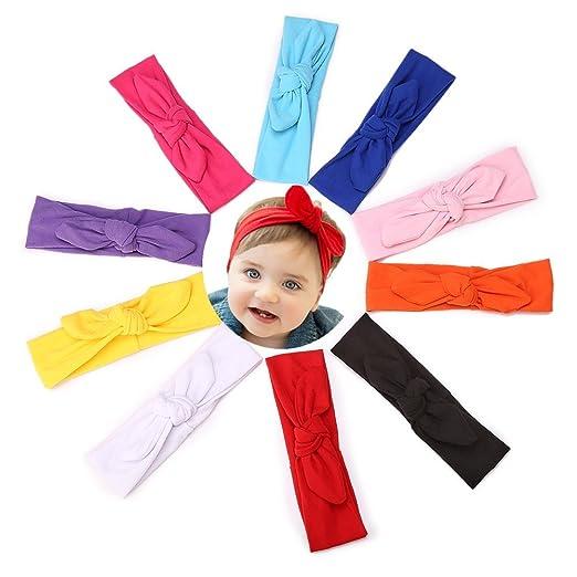 GBATERI 10 pcs Bandeaux de coton doux en coton pour bébés Oreilles Lapin  Bandeau élastique Enveloppement de tête  Amazon.fr  Vêtements et accessoires 68cc0653060