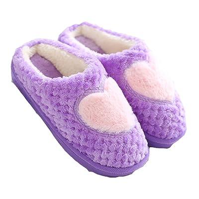D.S.MOR Women's Heart Pattern Home Slippers Indoor Floor Slippers Winter Slippers