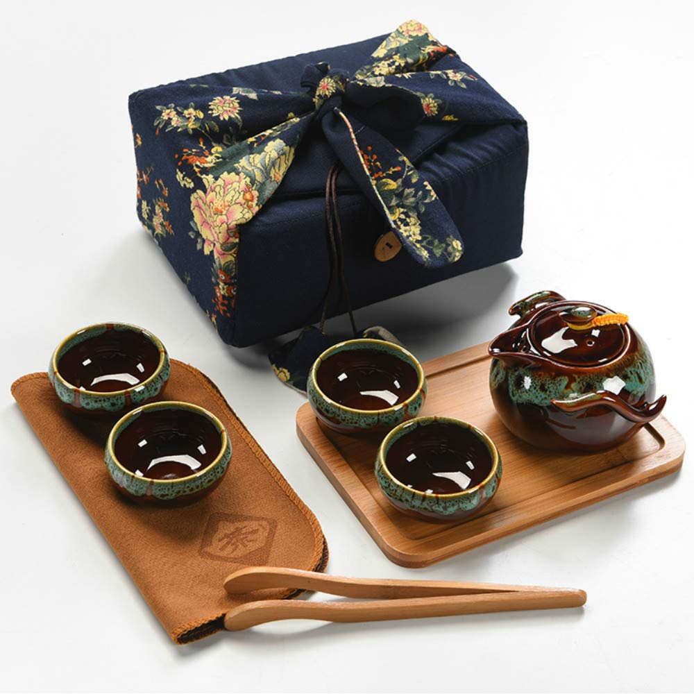 Chinese Kungfu Tea Set Handmade Portable Travel Tea Set with Cloth Bag/Vintage Design Portable Travel Cermet Teacup (Blue)