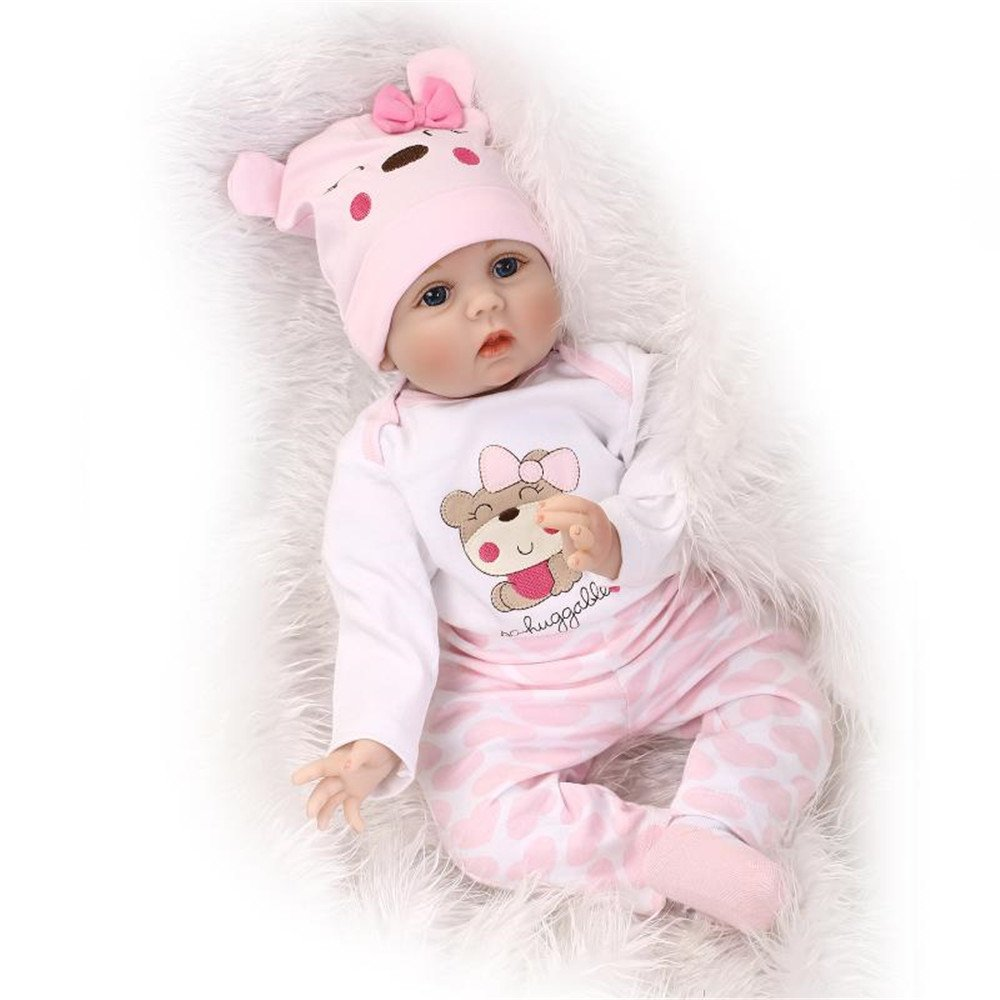 ZIYIUI Realistic 55cm Reborn Baby Doll Soft Vinyl Silicone Handmade Girl Childrens Partner Toy Gift 22 Inches