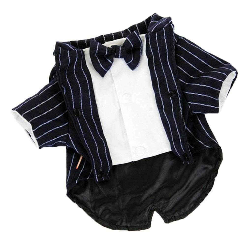 M(Neck  11\ Petvins Dog Tuxedo Costume with Bowknot Tie, Pet Stripe Formal Suit Wedding Clothes, Prince Shirt Party Clothes for Small Medium Dog