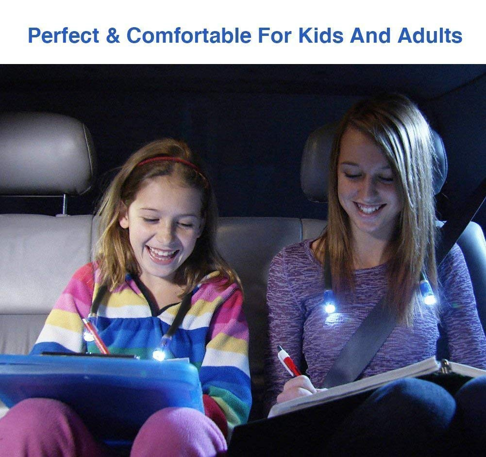 OriFiil LED Neck Light,Rechargeable Book Lights, Flexible Neck Lamp for Reading in Bed or Car, 4 LEDs with 3 Level Adjustable Brightness, Ideal for Kids,Crafts,Knitting, Crochet,Travel or BBQ