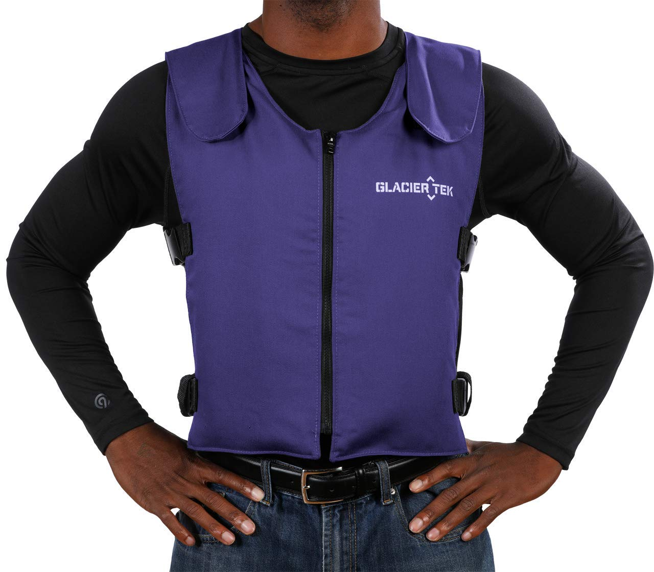 Glacier Tek Original Cool Vest with FR3 Flame-Retardant Banox Fabric and Nontoxic Cooling Packs Blue