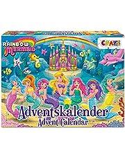 CRAZE Premium 24713 Advent Kids 2020 Regenboog Zeemeermin Speelgoed Kalender voor Meisjes Jongens met Creatieve Inhoud en Verrassingen, Kleurrijk
