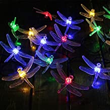 KEEDA® 20 Multi Coloured LED Dragonfly Waterproof String Fairy Decorative Lights Solar Powered for Outdoor, Garden, Patio, Christmas Party (Multi)